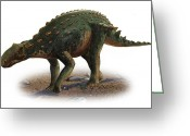 Dinosaurs Greeting Cards - Minmi Paravertebra, A Prehistoric Era Greeting Card by Sergey Krasovskiy