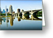 Mississippi River Scene Greeting Cards - Minneapolis Bridge Greeting Card by Laurianna Murray