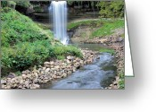 Lichen Greeting Cards - Minnehaha Falls Downstream Greeting Card by Kristin Elmquist