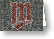 Mlb Mixed Media Greeting Cards - Minnesota Twins Baseball Mosaic Greeting Card by Paul Van Scott