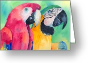 Exotic Birds Greeting Cards - Minnie And Boggs Greeting Card by Arline Wagner
