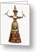 Ceramic Sculpture Greeting Cards - Minoan Snake Goddess Greeting Card by Photo Researchers