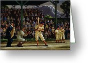 Catcher Greeting Cards - Minor League Greeting Card by Clyde Singer