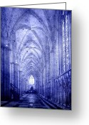Pray Digital Art Greeting Cards - Minster in Blue Greeting Card by Svetlana Sewell