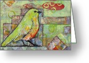 Little Bird Greeting Cards - Mint Green Bird Art Greeting Card by Blenda Tyvoll