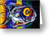 Spirals Greeting Cards - Miracolo Pesci con Arcobaleno Alette Greeting Card by J Vincent Scarpace