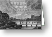 City Illusion Greeting Cards - Mirage Over Paris, 1869 Greeting Card by