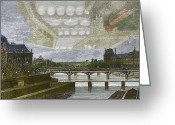 City Illusion Greeting Cards - Mirage Over Paris, 1869 Greeting Card by Sheila Terry