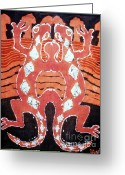 Pair Tapestries - Textiles Greeting Cards - Mirror Image Salamanders Greeting Card by Carol Law Conklin