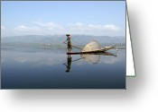 Burma Greeting Cards - Mirror Inle Lake Greeting Card by Jessica Rose