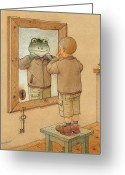 Brown Drawings Greeting Cards - Mirror Greeting Card by Kestutis Kasparavicius