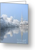 White River Scene Greeting Cards - Mirror view Greeting Card by Andrew  Michael