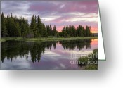 Natures Beauty Greeting Cards - Mirrored Dawn Greeting Card by Idaho Scenic Images Linda Lantzy