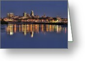 Kansas City Missouri Greeting Cards - Mirrored Kansas City Missouri Greeting Card by Don Wolf