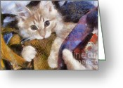 Playful Kitten Greeting Cards - Mischievous Greeting Card by Denise Oldridge