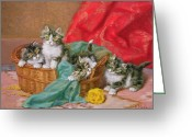Wicker Basket Greeting Cards - Mischievous Kittens Greeting Card by Daniel Merlin