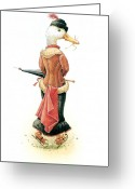 Ice Skating Greeting Cards - Miss Duck Greeting Card by Kestutis Kasparavicius