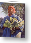 Vegetables Pastels Greeting Cards - Miss Emmas Collard Greens Greeting Card by Curtis James