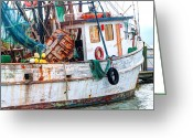 Crabs Greeting Cards - Miss Hale Shrimp Boat - Side Greeting Card by Scott Hansen