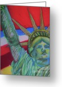 Icon  Pastels Greeting Cards - Miss Liberty Greeting Card by Emily Michaud