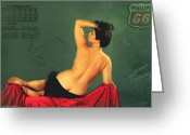 Hotrod Photo Greeting Cards - Miss September circa 1952 Greeting Card by Cinema Photography