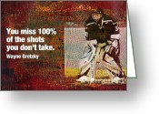 Hockey Mixed Media Greeting Cards - Missed Shots Greeting Card by John Turek