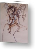 Angel Blues  Drawings Greeting Cards - Missing Him Greeting Card by Jackie Rock