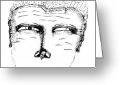 Nose Drawings Greeting Cards - Missing Mouth Greeting Card by Karl Addison