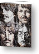 Beatles Greeting Cards - Missing Pieces Greeting Card by Maria Arango