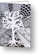 Radial Design Greeting Cards - Missing Tree Greeting Card by Christine Peterson