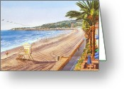 Trees Painting Greeting Cards - Mission Beach San Diego Greeting Card by Mary Helmreich