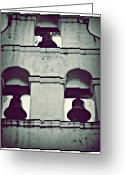 San Juan Bautista Greeting Cards - Mission Bells Silhouette Greeting Card by Patricia Strand