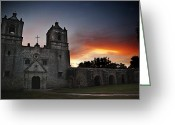 Art Of Building Greeting Cards - Mission Concepcion at Sunrise Greeting Card by Melany Sarafis