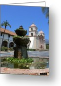Santa Barbara Digital Art Greeting Cards - Mission Fountain Greeting Card by Methune Hively