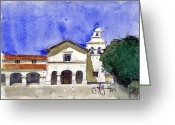 San Juan Bautista Greeting Cards - Mission San Juan Bautista Greeting Card by Jerry  Grissom