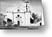 1977 Greeting Cards - Mission San Luis Rey BW Blue Greeting Card by Kip DeVore