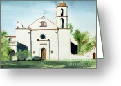 Air Mixed Media Greeting Cards - Mission San Luis Rey Colorful II Greeting Card by Kip DeVore
