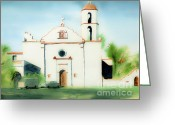 Air Mixed Media Greeting Cards - Mission San Luis Rey Dreamy Greeting Card by Kip DeVore