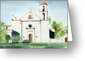 Air Mixed Media Greeting Cards - Mission San Luis Rey  Greeting Card by Kip DeVore