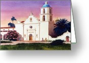 Catholic Church Painting Greeting Cards - Mission San Luis Rey Greeting Card by Mary Helmreich