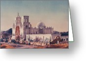 Catholic Church Painting Greeting Cards - Mission San Xavier Del Bac Tucson Greeting Card by Mary Helmreich