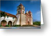 Adobe Architecture Greeting Cards - Mission Santa Barbara II  Greeting Card by Steven Ainsworth