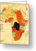 Missionary Greeting Cards - Missionary Map of Africa Greeting Card by Pg Reproductions