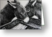 Feeding Drawings Greeting Cards - Missouri Mules Greeting Card by Lonnie Tapia