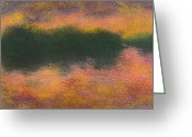 River Pastels Greeting Cards - Missouri River on Fire Greeting Card by Garry McMichael