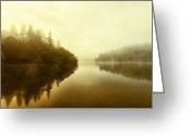 Colour Image Greeting Cards - Mist across the water Loch Ard Greeting Card by John Farnan