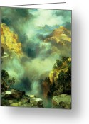 Thomas Moran Greeting Cards - Mist in the Canyon Greeting Card by Thomas Moran