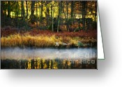 Glowing Greeting Cards - Mist On The Water Greeting Card by Meirion Matthias