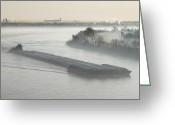 Overhead Greeting Cards - Mist Shrouded River and Tugboat Greeting Card by Jeremy Woodhouse