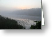 Dawn Greeting Cards - Misty Creek 2 Greeting Card by Richard De Wolfe